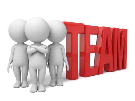 Group of 3d people standing next to the word team. 3d image. Isolated white background Reklamní fotografie - 37817779