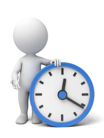 elapsed: A 3d people with a big clock. 3d image. Isolated white background