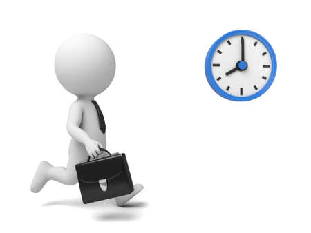 show time: A 3d people running, a blue clock. 3d image. Isolated white background