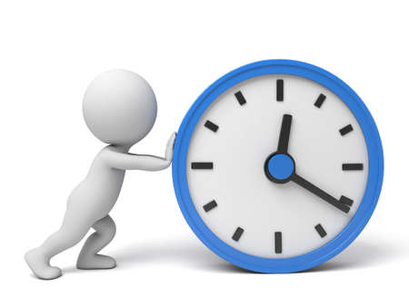 A 3d people running, a blue clock. 3d image. Isolated white background