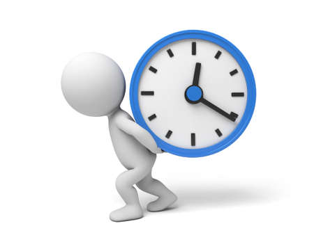 elapsed: A 3d people push a big clock. 3d image. Isolated white background Stock Photo