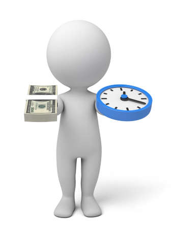 elapsed: A 3d people with a clock and some dollars. 3d image. Isolated white background
