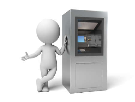 A 3d people with a ATM. 3d image. Isolated white background