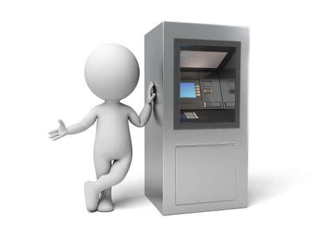 automatic transaction machine: A la gente 3d con un cajero automático. Imagen en 3D. Fondo blanco aislado