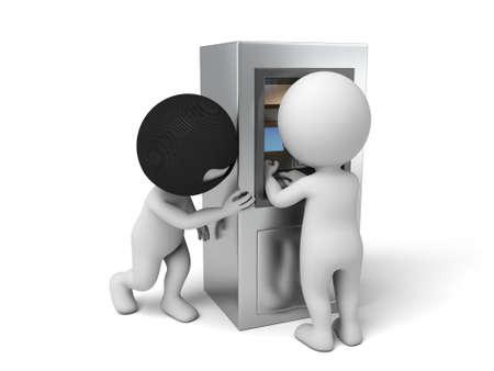 도둑 들여다 암호 도둑. 3D 이미지. 격리 된 흰색 배경 스톡 콘텐츠