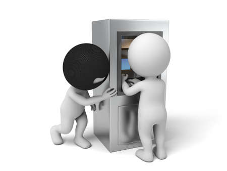 robbery: A thief A thief in peep password. 3d image. Isolated white background