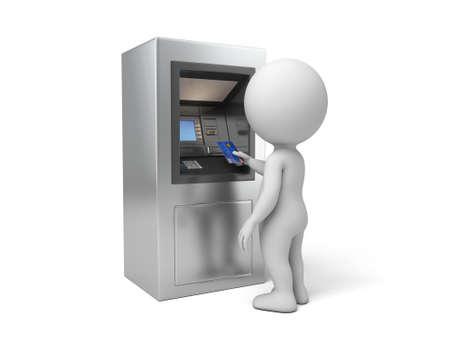 automatic transaction machine: A la gente 3d con un cajero autom�tico. Imagen en 3D. Fondo blanco aislado