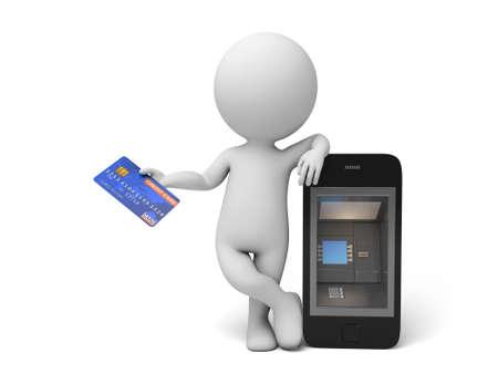 automatic transaction machine: A la gente 3d con un tel�fono como ATM. Imagen en 3D. Fondo blanco aislado