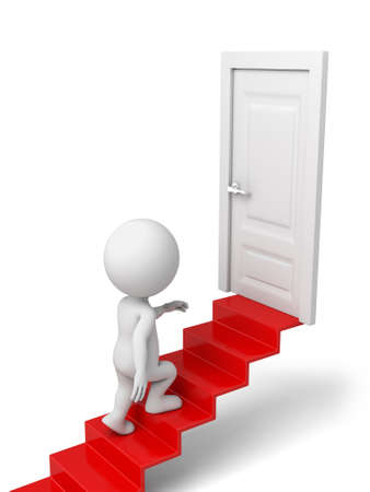 open doors: 3d people standing next to a door. 3d image. Isolated white background. Stock Photo