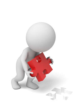3d small person: 3d small person holding a red   puzzle. Stock Photo