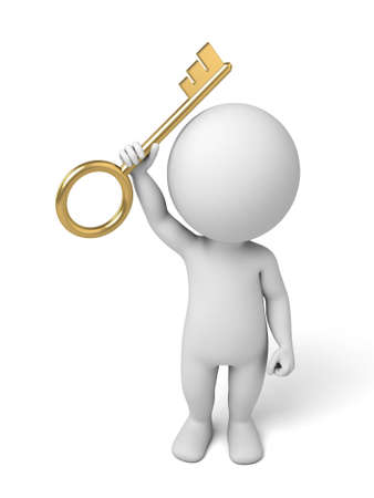 3d small person with a gold key. 3d image. Isolated white background photo