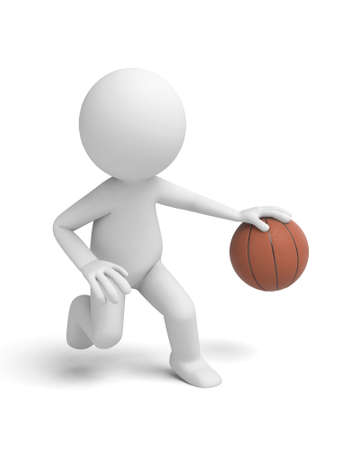 3d ball: A 3d people playing basketball. 3d image. Isolated white background