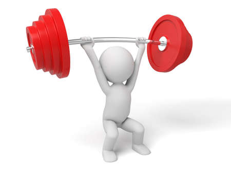 3d white people weightlifting, 3d image. Isolated white background