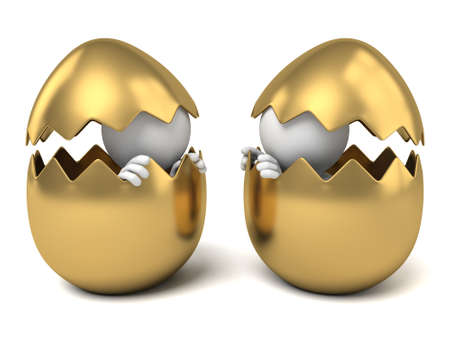 holiday profits: 3d people with a big gold egg. 3d image. Isolated white background Stock Photo