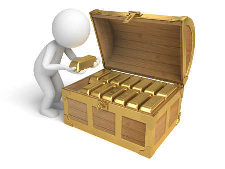 treasury: A 3d people with  a treasure chest. 3d image. Isolated white background