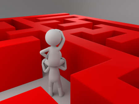 A 3d people in a maze. 3d image. Isolated white background