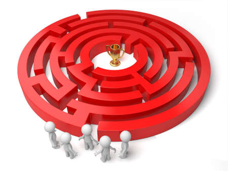 awarding: 3d people standing by a maze, a gold in the maze. 3d image. Isolated white background