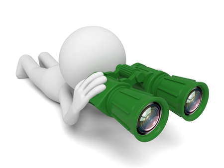 A 3d people searching with the binoculars. 3d image. Isolated white background