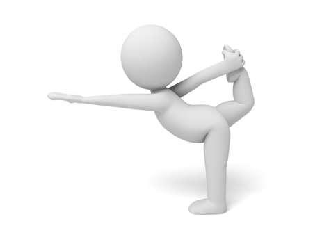 cartoon yoga: 3d people doing yoga exercise. 3d image. Isolated white background Stock Photo
