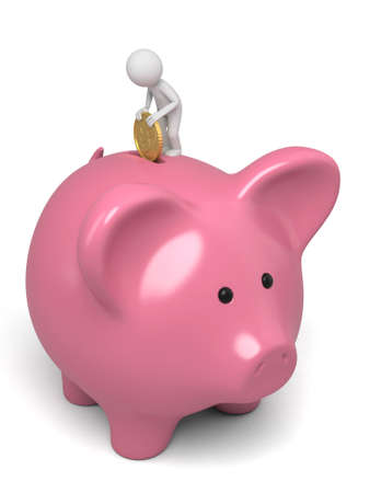 inserting: A 3d people inserting a coin in a pink piggy bank. 3d image. Isolated white background Stock Photo