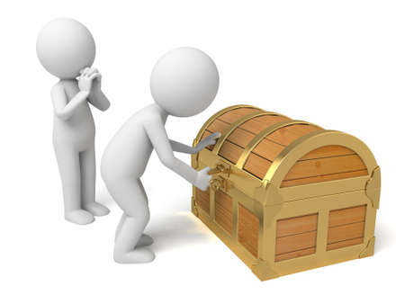 treasury: A 3d people open  a treasure chest. 3d image. Isolated white background Stock Photo
