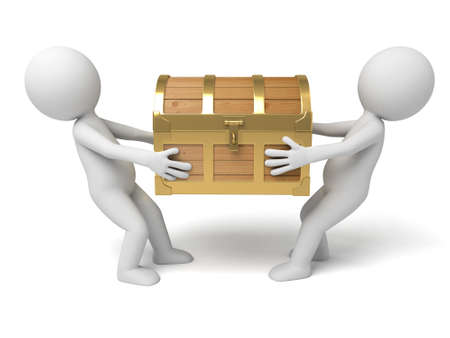 snatch: 3d people with  a treasure chest. 3d image. Isolated white background