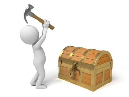 A 3d people open  a treasure chest. 3d image. Isolated white background Banco de Imagens