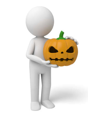 3d halloween: A 3d people with a pumpkin-head. 3d image. Isolated white background