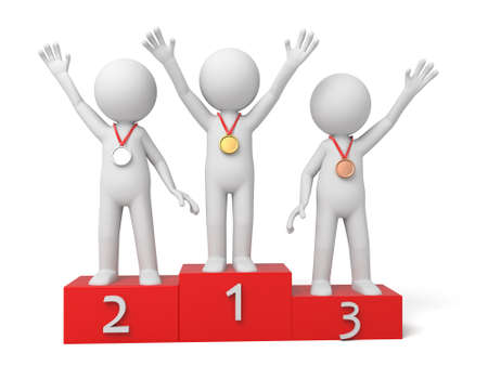 individual sports: 3d people with medals. 3d image. Isolated white background Stock Photo