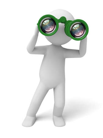 3d small people: A 3d people searching with the binocular. 3d image. Isolated white background