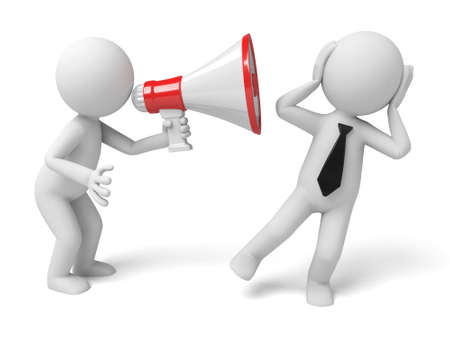 news icon: 3d people holding a megaphone shouting to another, 3d image. Isolated white background. Stock Photo