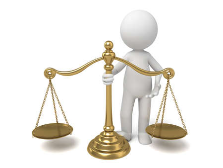 attorney scale: 3d people with a gold scale. 3d image. Isolated white background.