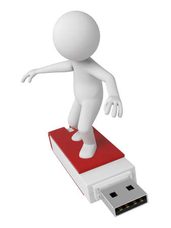 pc: 3d people with a USB flash drive. 3d image. Isolated white background. Stock Photo