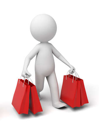 supermarket shopper: 3d people with some shopping bag. 3d image. Isolated white background.