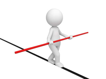 3d people walking on a tightrope. 3d image. Isolated white background