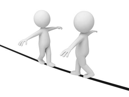 steadiness: 3d people walking on a tightrope. 3d image. Isolated white background