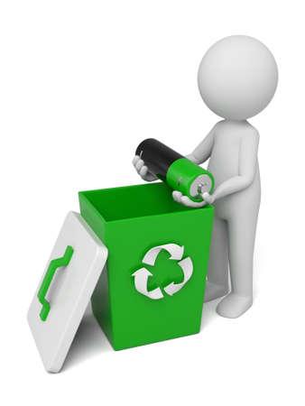 reciclable: 3d personas que lanzan una mala batería en el compartimiento. Imagen en 3D. Fondo blanco aislado Foto de archivo