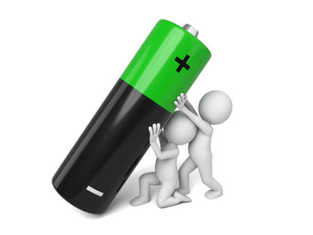 polarity: 3d people lift a big battery.  3d image. Isolated white background