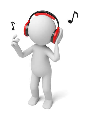 people listening: 3d people listening music. 3d image. Isolated white background