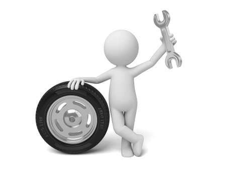 A 3d people with a tyre. 3d image. Isolated white background