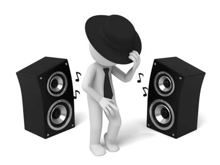 dancing club: 3d people dance with a speaker. 3d image. Isolated white background Stock Photo