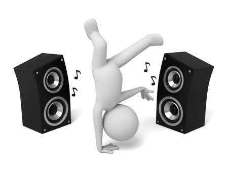 speaker: 3d people dance with a speaker. 3d image. Isolated white background Stock Photo