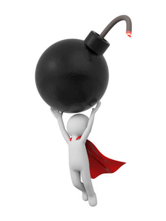 bomb threat: 3d people with a bomb. 3d image. Isolated white background