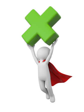 green cross: 3d people flying with a green cross symbol. 3d image. Isolated white background