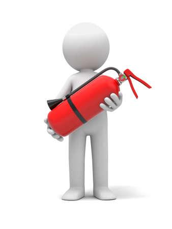 Gente 3d con un extintor, imagen 3d. Fondo blanco aislado.