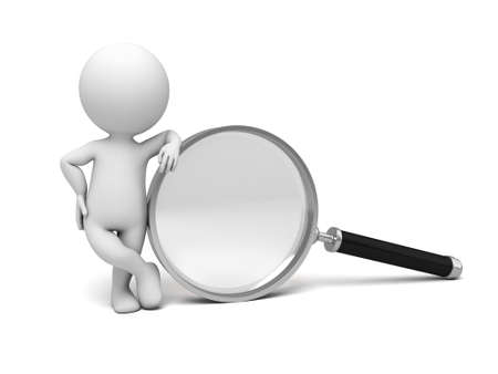 investigating: A 3d people with a magnifier. 3d image. Isolated white background.