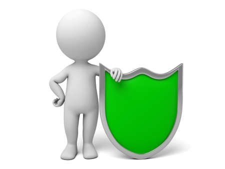 shielding: 3d people with a shield, 3d image. Isolated white background. Stock Photo