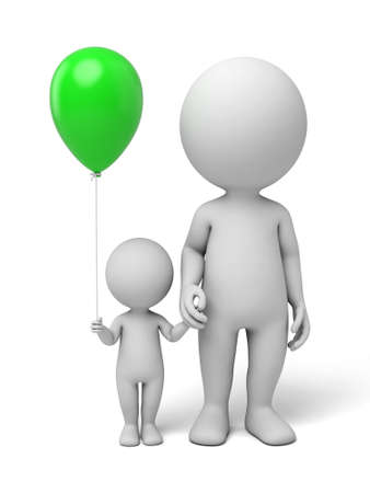 3d people, parents with children. 3d image. Isolated white background Archivio Fotografico