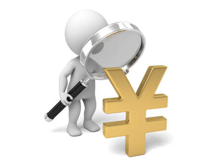 rmb: A 3d people with a magnifier and a yen symbol. 3d image. Isolated white background.