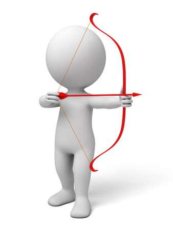 hombre disparando: Gente 3d con un arco, imagen 3d. Fondo blanco aislado. Foto de archivo